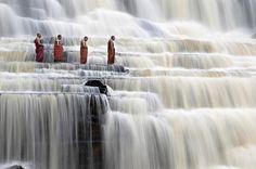 Meditating Monks at Pongour Falls