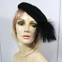 Vintage 1950s Black Felt Hat Ostrich Feather by JuneeMoonVintage, $34.00