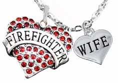 """Cadmium, Lead & Nickel Free!! New! Antiqued, Silver Tone, Cable Chain Adjustable 18 Inch + 2 Inches Necklace Comes With Beautiful Red Crystal Maltese Cross,""""Firefighter Charm and Small """"Wife"""" Polished Silver Tone Heart. A Perfect Gift for a Firefghter's Wife! 