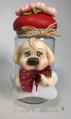 Polymer Clay Ornaments, Polymer Clay Projects, Clay Crafts, Diy And Crafts, Salt Dough Crafts, Clay Jar, Gingerbread Ornaments, Teddy Toys, Dog Cakes