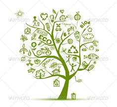 Fun! Green ecology tree concept. Hand drawing sketch. - GraphicRiver Item for Sale