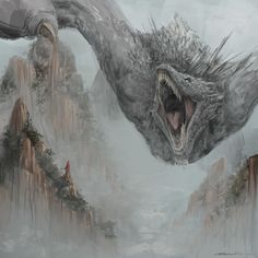 Mythical Creatures Art, Mythological Creatures, Fantasy Creatures, Got Dragons, Mother Of Dragons, Fantasy Concept Art, Dark Fantasy Art, Fantasy Monster, Monster Art