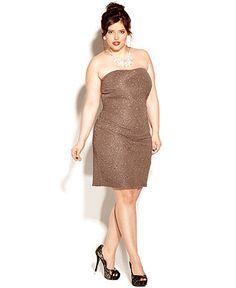 Love Squared Plus Size Dress, Strapless Metallic - Plus Size Dresses - Plus Sizes - Macy's