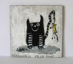 MEIN MÄUSLE - Nr. 2 von Herbivore11 Unikat Minibild Maus Katze Comic Inchie süß