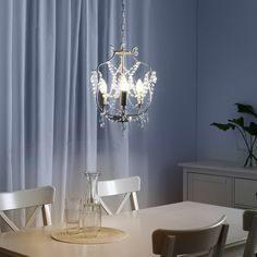 IKEA - KRISTALLER, Chandelier, silver color, glass, The height is easy to adjust by using the S-hook or cutting the chain. Lustre Ikea, Ikea Chandelier, Chandelier Lighting, Ikea Ps 2014, Led Track Lighting, Clear Light Bulbs, Paint Shades, Led Lampe, Glass