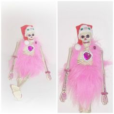 Pink Skeleton Santa Art Doll Day Of The Dead Santa Skull Head Skeleton Doll EerieBeth Skellie Art Doll ICreateAndCollect Etsy Goth Punk Doll by ICreateAndCollect on Etsy