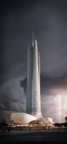 Zhuahai Hengqin International Finance Center Tower, financial island in Hengqin Block, Shizimen CBD, Zhuhai, China by Aedas Architects ::68 floors,  height 350m
