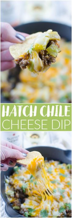Hatch Chile Cheese Dip – roasted hatch chiles, spicy sausage, tomatoes, and 2 kinds of cheese! Serve with tortilla chips for the perfect football food!
