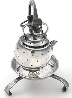 Simons sterling teapot tea ball (tea infuser) in form of a tea kettle hanging on a hand hammered footed stand (drip tray) with matching monograms CAD, c. 1900?, silver, USA
