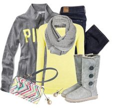 Click the pic and See more Yellow shirt, grey sweater, jeans, winter shoes and hand bag for ladies