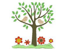Tree Of Life avec broderie machine oiseaux conçoit un par artapli