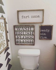 Hand Painted Wood Sign Size: 10x12 Sign Comes With Hook; Copyright JaxnBlvd 2016; Bathroom Decor; Bathroom Ideas; Bathroom Remodel; Bathroom Modern; Bathroom Organization; Bathroom Master; Bathroom Small; Bathroom Storage; Bathroom Colors; Bathroom Design; Farmhouse style bathroom; Separate showers; Wood shelves; floating shelves #Bathrooms