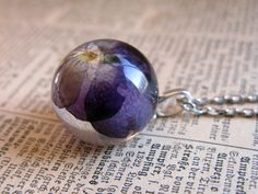 Beautiful Viola Resin Pendant Necklace Sphere   by ScrappinCop, $15.00