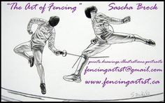 artwork depicting the sport of fencing and fencers by fencingartist www.fencingartist.ca ~ men's epee