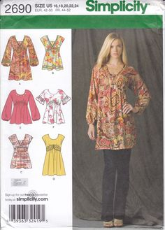 New Sewing Pattern Simplicity Pattern 2690 6 Empire Tops Mini Dress Belt Misses Women Size 16 18 20 22 24 Bust 38 40 42 44 46 uncut 2009 by LanetzLiving on Etsy Tunic Sewing Patterns, Plus Size Sewing Patterns, Vogue Patterns, Simplicity Sewing Patterns, Clothing Patterns, Pretty Patterns, Dress Patterns, Crochet Patterns, Bodice Pattern