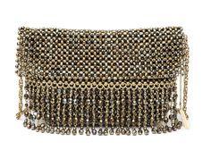 OLÍVIA -  Bolsa em cristal com franjas em cristal, malha interna camurça e alça corrente. #Bolsa #Clutches