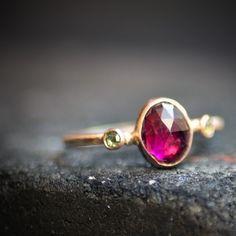 Vivid Pink Tourmaline & Rose Cut Diamonds Rose Gold by Vena Amoris Jewelry on Etsy