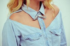 DIY cut-out 'vented' button down, because negative space is totally in! Try adding to the look by putting some BeautyMarks on your collar bones and shoulders.