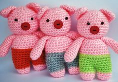 "crochet ""Three Little Pigs"", virkade tre små grisar"