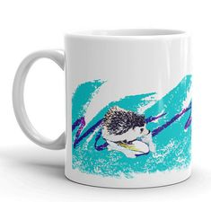Items similar to Hedgehog Surfin' Solo Adorable Art Mug of Happiness - Cute Funny Hedgehog Mug by Urchin Wear on Etsy Funny Hedgehog, A Hedgehog, Jazz Cup, Cute Japanese, Cup Design, Paper Plates, Squirrel, Make It Yourself, Mugs