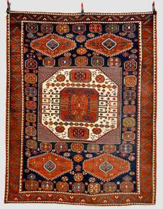 Lot 495, a Karachov Kazak rug, south west Caucasus, late 19th/early 20th century, 8ft. 1in. x 6ft. 6in. 2.46m. x 1.98m. Netherhampton Carpets, Rugs & Textiles 1 October 2014