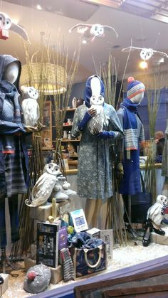 Woodland owl Christmas windows at Seasalt