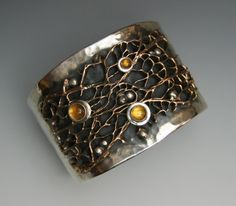 Jennifer DeFoe Online - Exclusive Designs, Naturally Inspired - Hammered Sterling cuff, Bronse Cactus core, Citrene