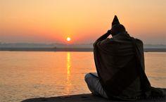 Obeisance to rising sun Meditating in the Himalayas: Transcendental India - images of deep meditation & communing with divinity Varanasi, Reprogramacion Mental, Mother India, Sun Worship, Environmental Challenges, Surya Namaskar, India Images, Deep Meditation, News India