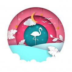 Flamingo illustration. Cartoon paper landscape.. Download thousands of free vectors on Freepik, the finder with more than a million free graphic resources