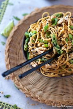 Sesame noodles mixed with Thai flavored chicken and asparagus. Filling and delicious.