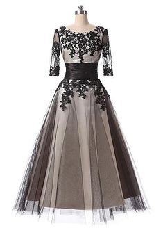 In Stock Elegant Tulle Scoop Neckline A-Line Tea-length Prom Dresses With Lace Appliques