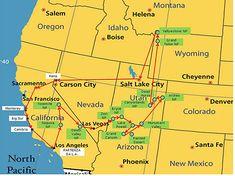 Cartina USA, Il nostro tour on the road, Percorso parchi americani dell'ovest, Mappa itinerario