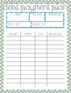 Pay Off Debt Printable Worksheet - Brubwyn.us