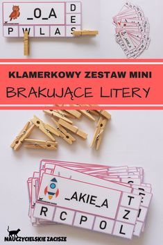Brakujące litery Missing letters Clothes pegs Klamerki Clothes Pegs, Montessori, Leo, Diy And Crafts, Letters, Teaching, Children, School, Speech Language Therapy