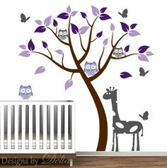 Nursery Tree Decal, Vinyl Wall Sticker, Girl Nursery, Decal Owls, Giraffe. $79.00, via Etsy.