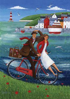 Art Print: Seaside Bike Ride by Peter Adderley : Art And Illustration, Illustrations, Seaside Art, Bicycle Art, Bicycle Design, Cycling Art, Naive Art, Whimsical Art, Find Art