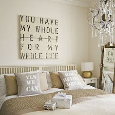 Love the print above the bed