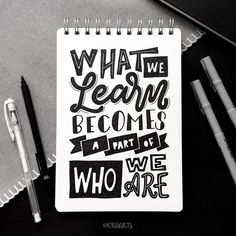 What we learn become a part of who we are! of What we lear. What we learn become a part of who we are! of What we learn become a part of who we are! Calligraphy Quotes Doodles, Brush Lettering Quotes, Doodle Quotes, Calligraphy Words, Lettering Styles, Lettering Design, Calligraphy Lessons, Schrift Design, Bullet Journal Quotes