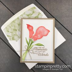 Simple Saturday Lasting Lily Love & Sympathy Card (Mary Fish, Stampin' Pretty The Art of Simple & Pretty Cards) Mary Fish, Stampin Pretty, Sympathy Cards, Greeting Cards, Pretty Cards, Simple Art, Baby Cards, Flower Cards, Envelope Liners