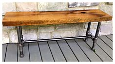 Reclaimed White Oak Bench with metal pipe legs. Reclaimed from old barn door sides the white oak is made for the outdoors. Comes with a clear oil based finish. PLEASE NOTE: -This is a custom order. Pipe Furniture, Industrial Furniture, Rustic Furniture, Cabin Furniture, Western Furniture, Industrial Pipe, Furniture Removal, Furniture Movers, Luxury Furniture