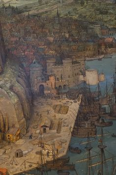 The Tower of Babel, detail: city and port