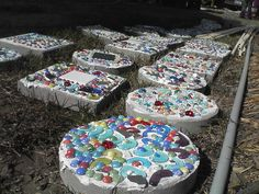 decorated cement stepping stones