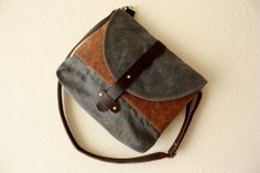 Hudson Saddlebag Purse in Bourbon Brown and Charcoal by LyonHarts, $148.00