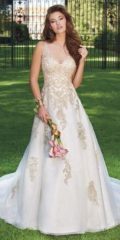 Metallic Applique Illusion Dress from Camille La Vie and Group USA Wedding Dress Train, Wedding Dress Trends, Sexy Wedding Dresses, Wedding Gowns, Bridesmaid Dresses, Dresses Dresses, Party Dresses, Dresses Online, Bridesmaids