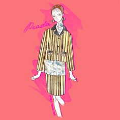 Prada S/S 2016 by Michele Moricci MFW S/S 2016 Fashion Illustrations by Michele Moricci