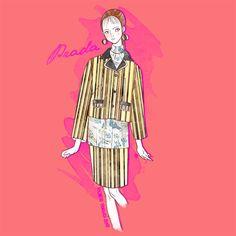 Prada S/S 2016 by Michele Moricci MFW S/S 2016 Fashion Illustrations by Michele Moricci