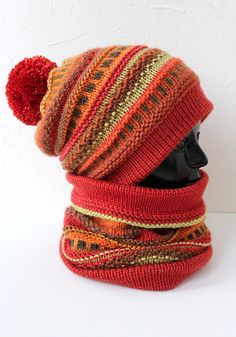 Terracotta Hat and Snood by Inna Sidorova, free pattern on Ravelry in English and Russian. hat colorwork Terracotta Hat and Snood pattern by Inna Sidorova Snood Pattern, Mittens Pattern, Knit Mittens, Free Pattern, Baby Hats Knitting, Loom Knitting, Hand Knitting, Knitted Hats, Diy Knitting Projects