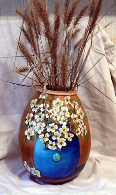 Dogwood Vase Embelleshed Relief Hand Carved Gourd by ana90 on Etsy
