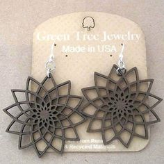 STAR FLOWER Green Tree Jewelry BROWN laser-cut wood earrings Made-in-USA 1234 | Jewelry & Watches, Fashion Jewelry, Earrings | eBay!