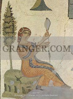 ROMAN MOSAIC: SHEPHERDESS Shepherdess with distaff. From Tabarka (Thabrarka), Tunisia, 4th century A.D.